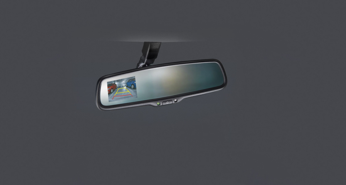 Rear camera display system on rear view mirror