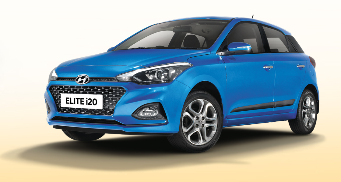 Left side front view of red Elite i20