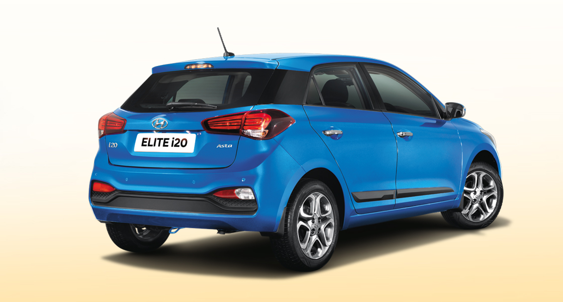 Right side rear view of red Elite i20