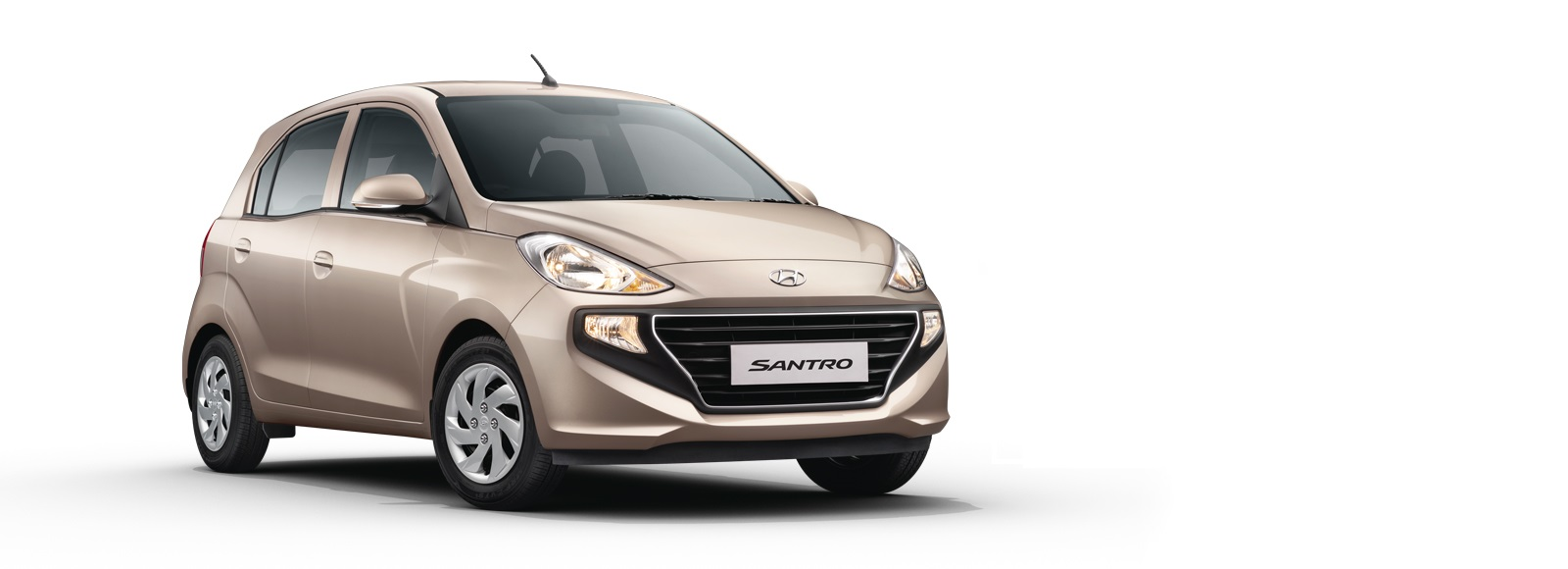 Side front view of the all new Santro car in Nepal