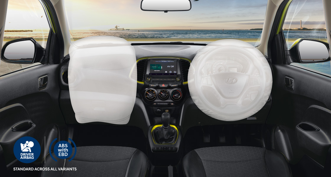Top view of white Creta parking with rear parking sensors
