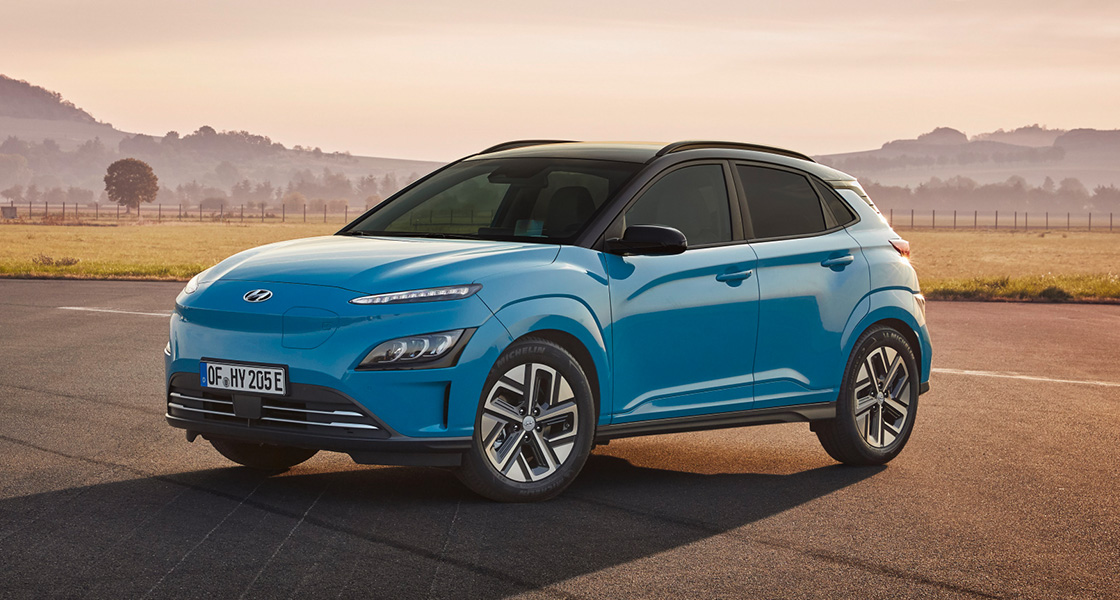 Left side view of blue kona-electric