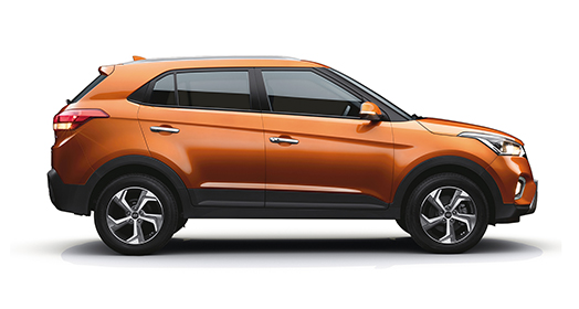 Right side-front view of white creta parked in front of the building